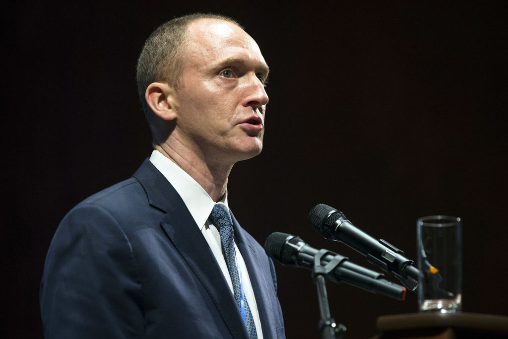 FILE - In this Friday, July 8, 2016, file photo, Carter Page, then adviser to U.S. Republican presidential candidate Donald Trump, spea...