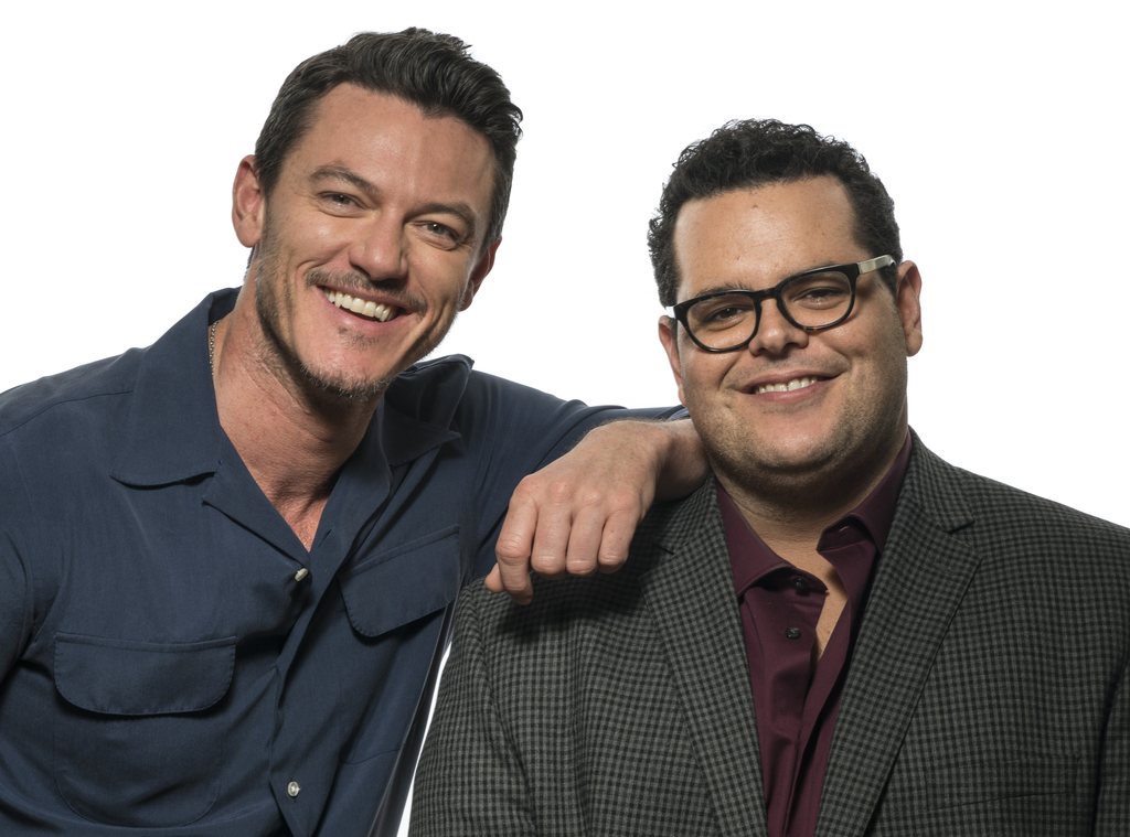 """This March 5, 2017 photo shows Luke Evans , left, and Josh Gad at the press junket for their film, """"Beauty and the Beast"""" at the Montag..."""