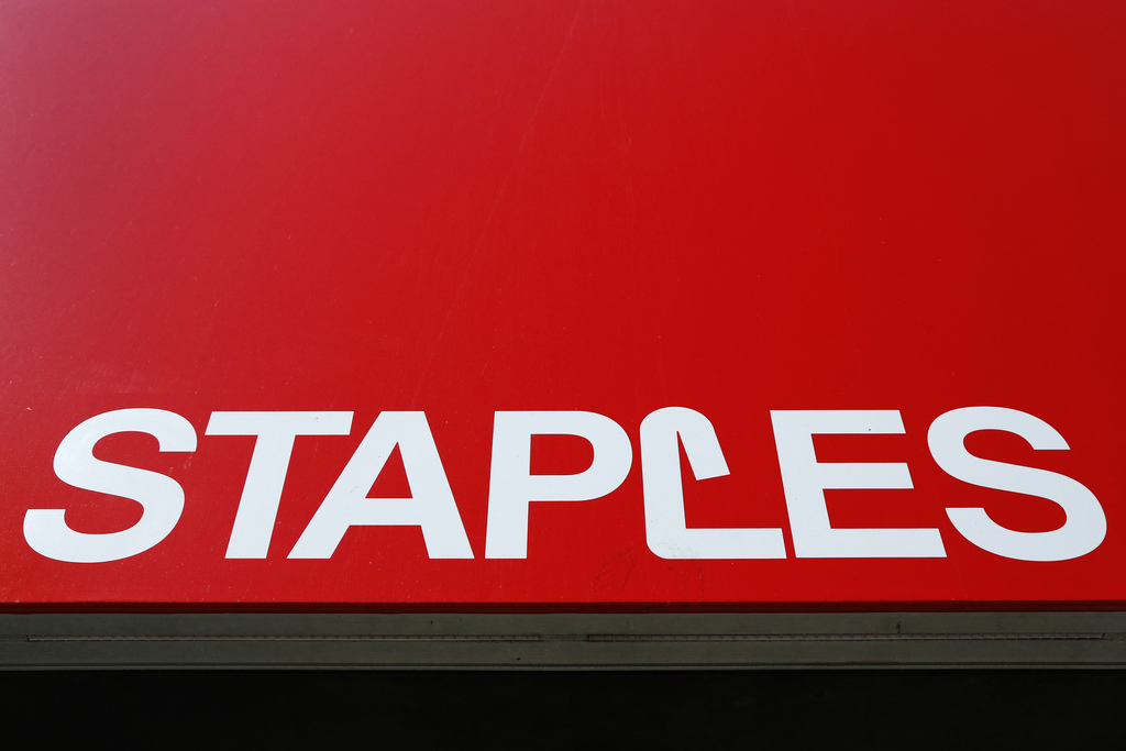 This Tuesday, March 1, 2016, photo, shows a Staples store sign in New York. On March 9, 2017, one of the greatest runs for the stock ma...