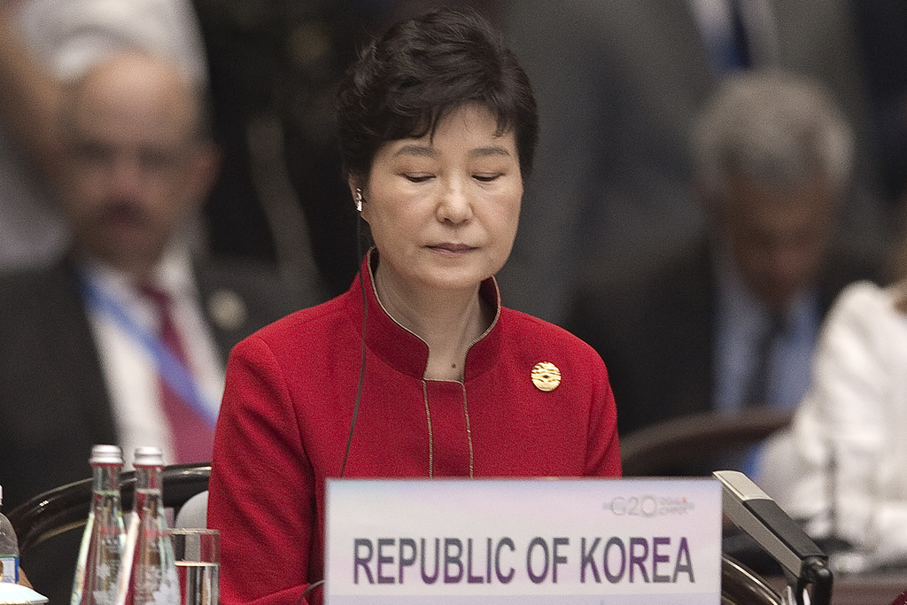 FILE - In this Sept. 4, 2016, file photo, South Korea's President Park Geun-Hye is seated during the opening ceremony of the G-20 Leade...