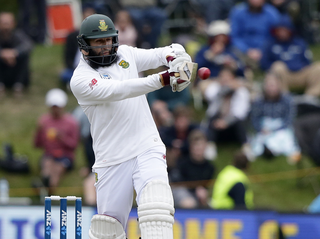 South Africa's Hashim Amla plays a pull shot during the first cricket test against New Zealand at University Oval, Dunedin, New Zealand...