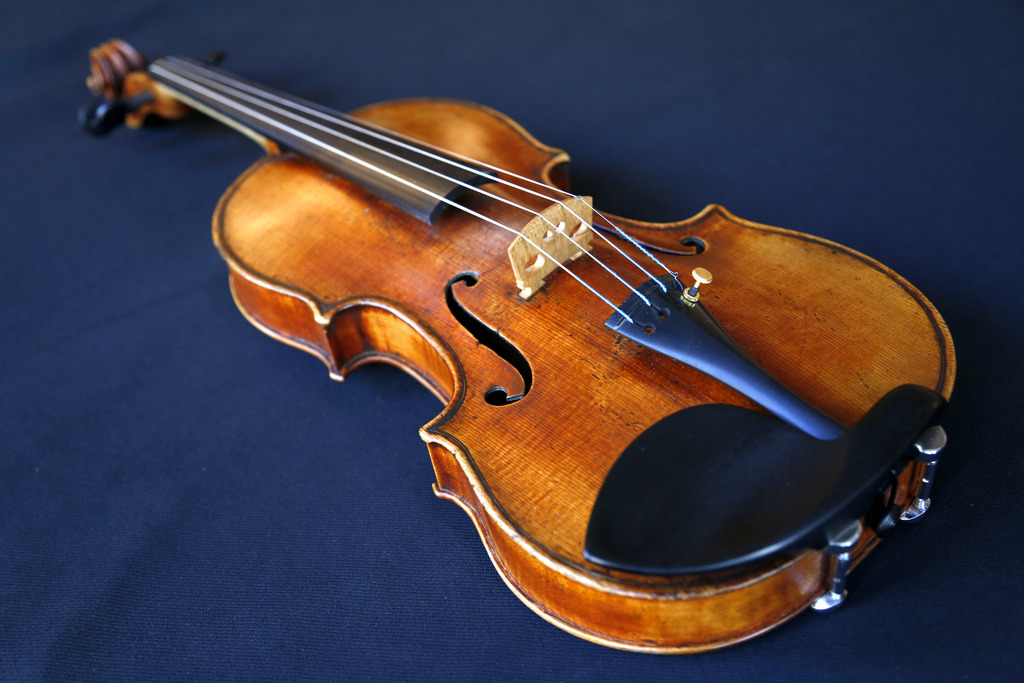 In this Wednesday, March 8, 2017 photo, the Ames Stradivarius violin is seen in New York. After a meticulous restoration that took more...