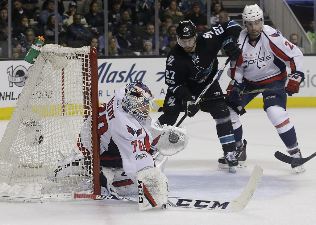 Washington Capitals goalie Braden Holtby (70) defends on a San Jose Sharks shot during the second period of an NHL hockey game in San J...