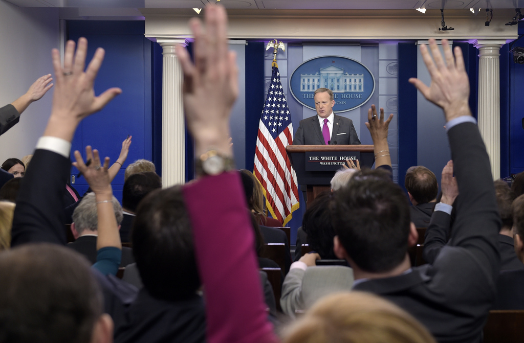 White House press secretary Sean Spicer speaks during the daily briefing at the White House in Washington, Thursday, March 9, 2017. Spi...