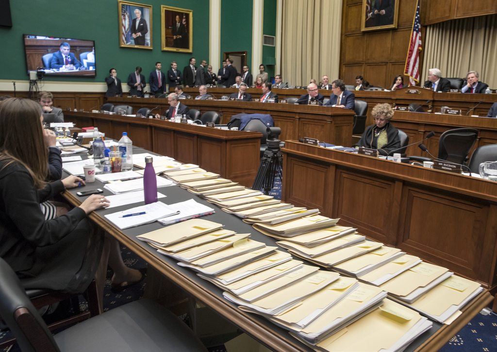 "Folders containing amendments to the GOP's ""Obamacare"" replacement bill are spread on a conference table on Capitol Hill in Washington,..."