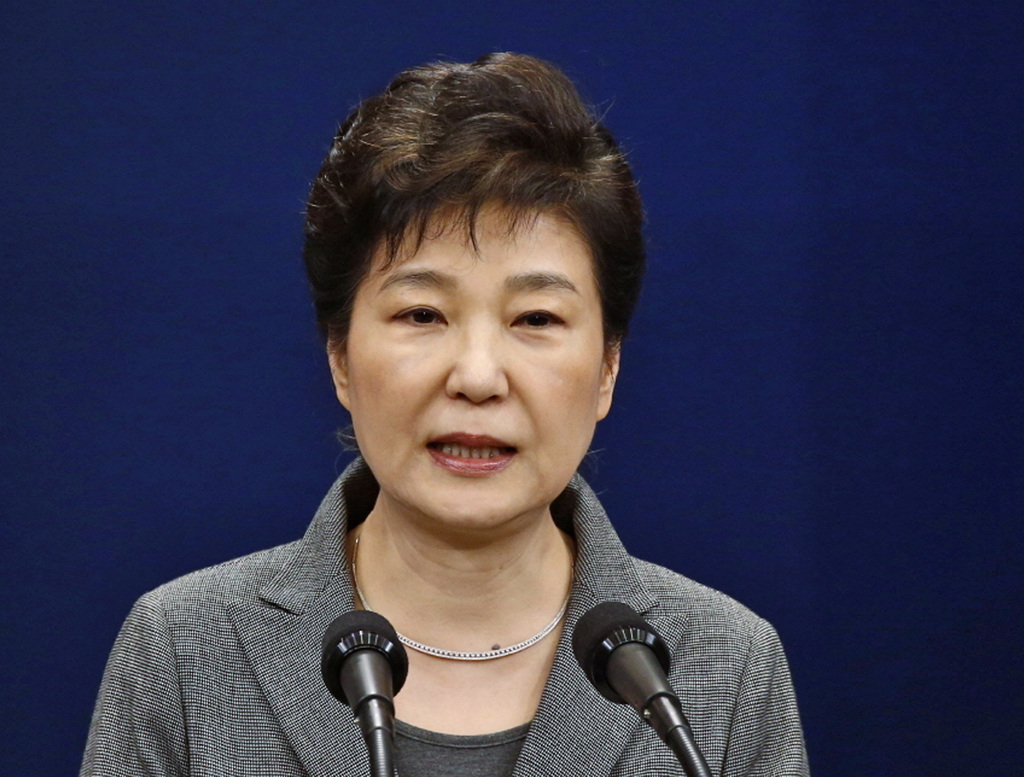 FILE - In this Nov. 29, 2016, file photo, South Korean President Park Geun-hye makes a live televised address in Seoul, South Korea. So...