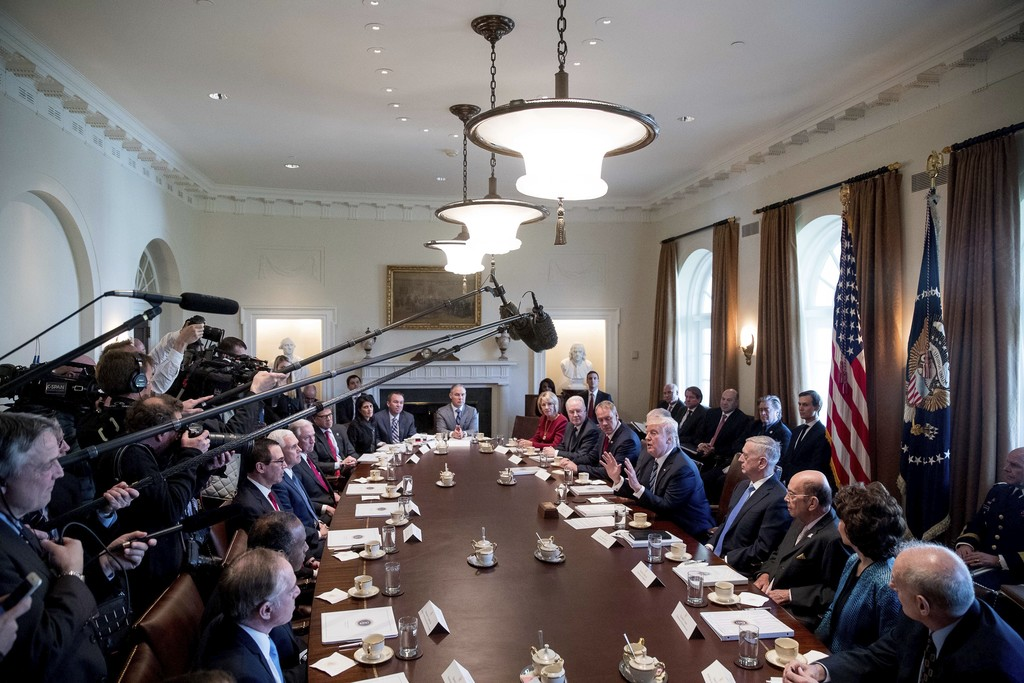 President Donald Trump speaks during a meeting with his Cabinet in the Cabinet Room of the White House in Washington, Monday, March 13,...