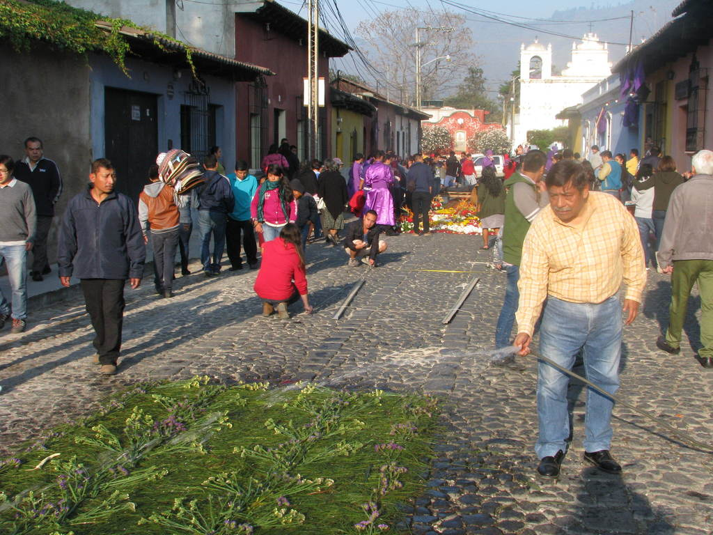 This March 22, 2015 photo shows a man watering one of the hundreds of flower carpets that line the route of the first Easter season pro...