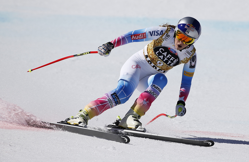 United States' Lindsey Vonn finishes a run at the women's World Cup downhill ski race Wednesday, March 15, 2017, in Aspen, Colo. (AP Ph...