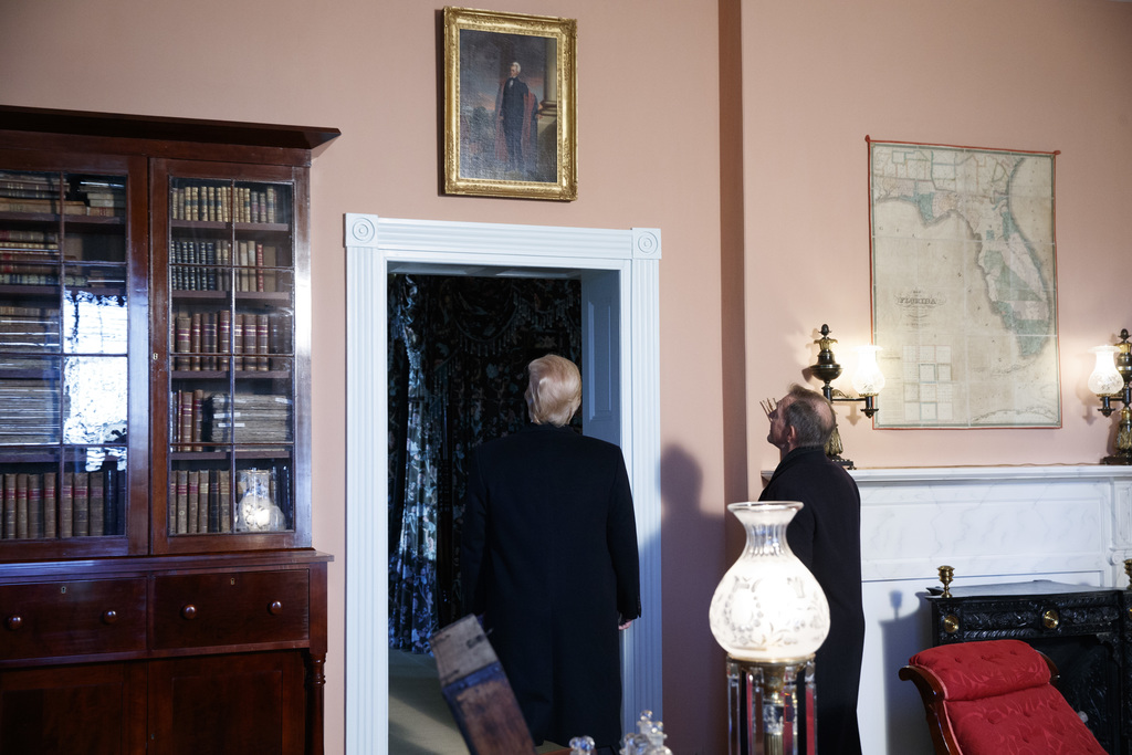 President Donald Trump takes a tour of the Hermitage, the home of President Andrew Jackson, to commemorate Jackson's 250th birthday, We...