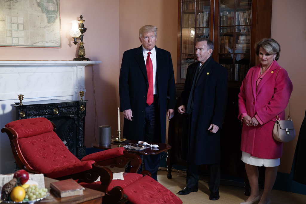 President Donald Trump tours the Hermitage, the home of President Andrew Jackson, to commemorate Jackson's 250th birthday, Wednesday, M...