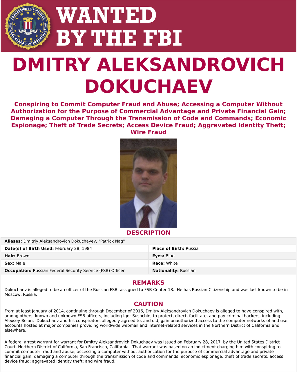 This wanted poster provided by the FBI shows Dmitry Aleksandrovich Dokuchaev, 33, a Russian national and resident. The United States an...