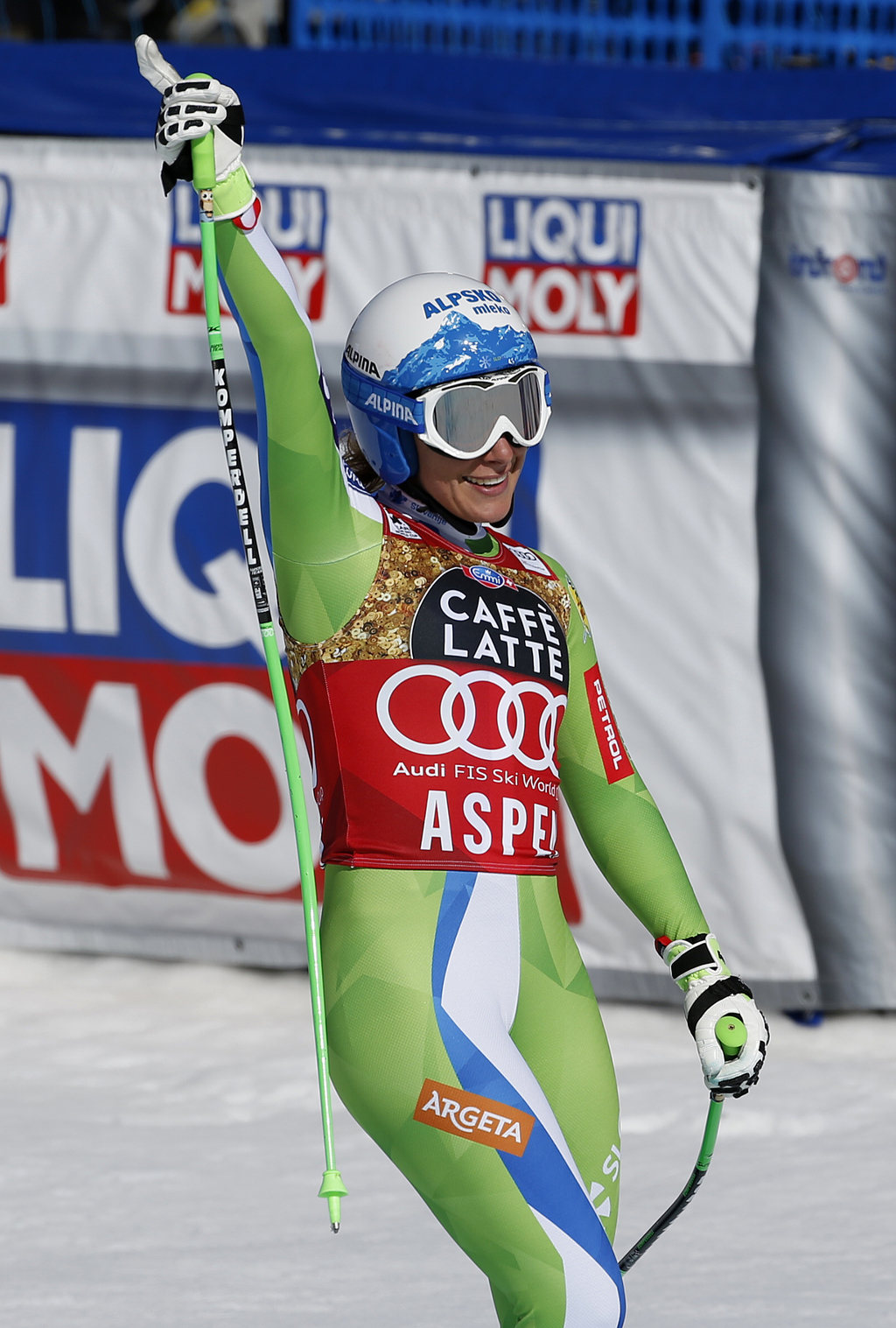 Slovenia's Ilka Stuhec celebrates after a run at the women's World Cup downhill ski race Wednesday, March 15, 2017, in Aspen, Colo. (AP...