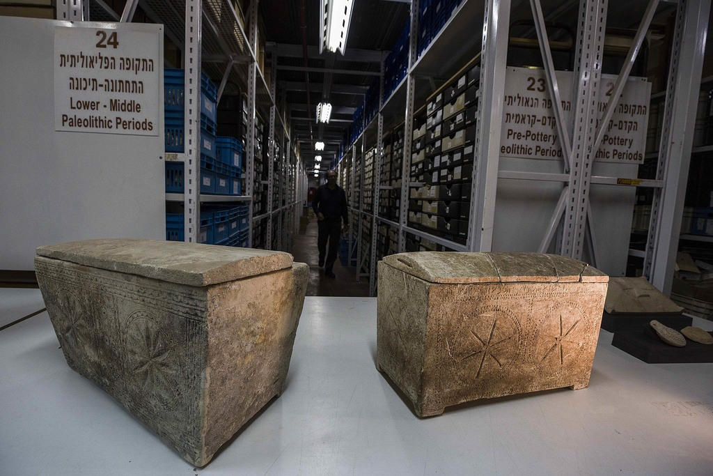 """Ossuaries with inscriptions with Hebrew letters forming the word """"Yeshua"""", or Jesus, are stored in Israel's antiquities authority store..."""