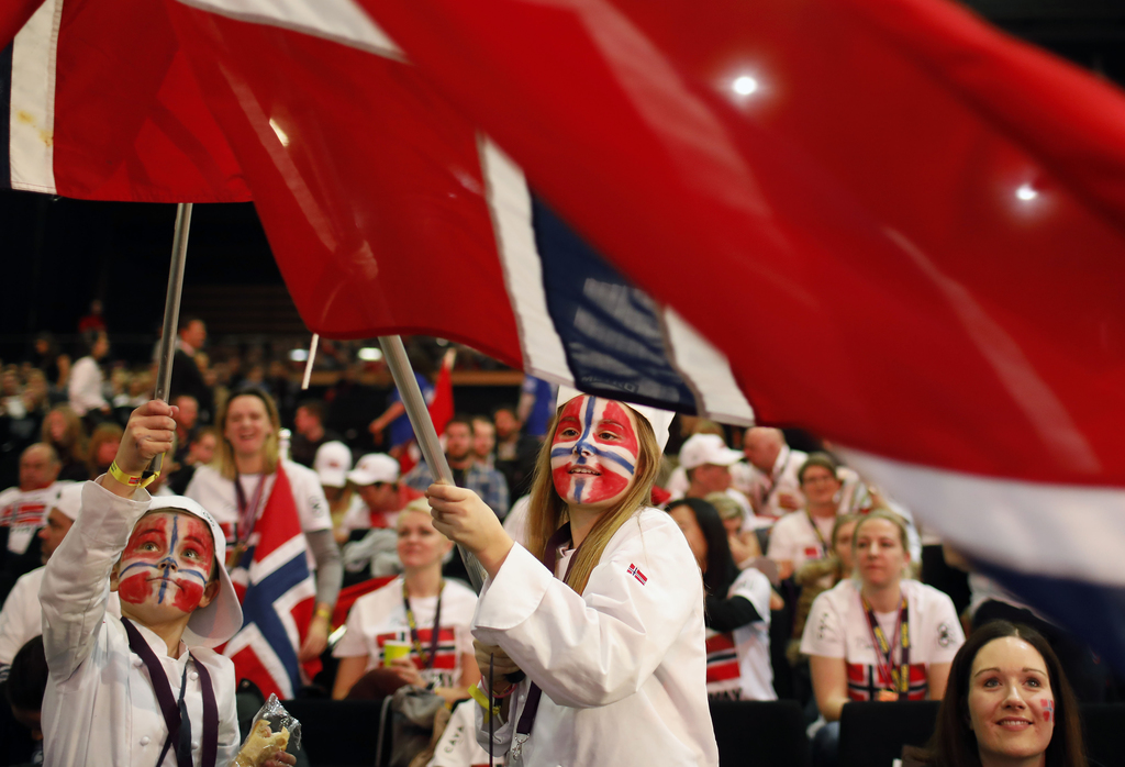 FILE - In this Wednesday, Jan. 25, 2017 file photo Norwegian supporters wave their flags to support their Chef Christopher William Davi...