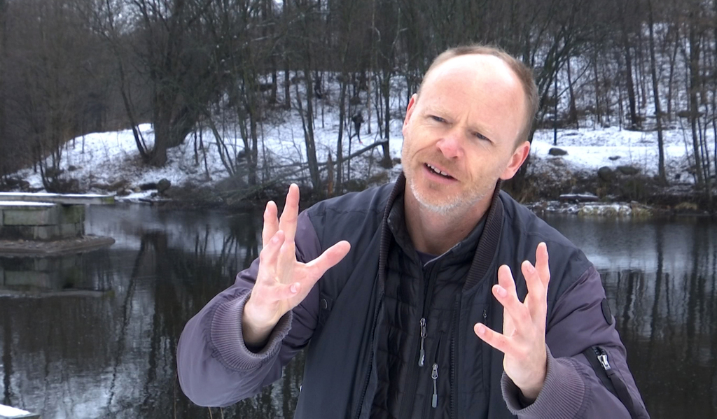 Norwegian comedian Harald Ela explains why Norwegians are the happiest people on earth during an interview with the Associated Press in...