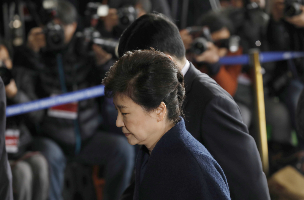 South Korea's ousted leader Park Geun-hye arrives at a prosecutor's office in Seoul, South Korea Tuesday, March 21, 2017.  Park said sh...