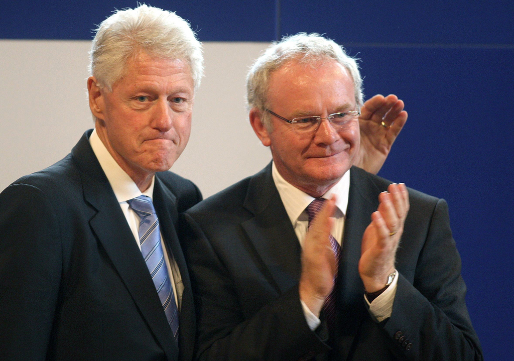 In this Sept. 29, 2010 photo, Northern Ireland's Deputy First Minister Martin McGuinness, right,  is accompanied by former U.S. Preside...