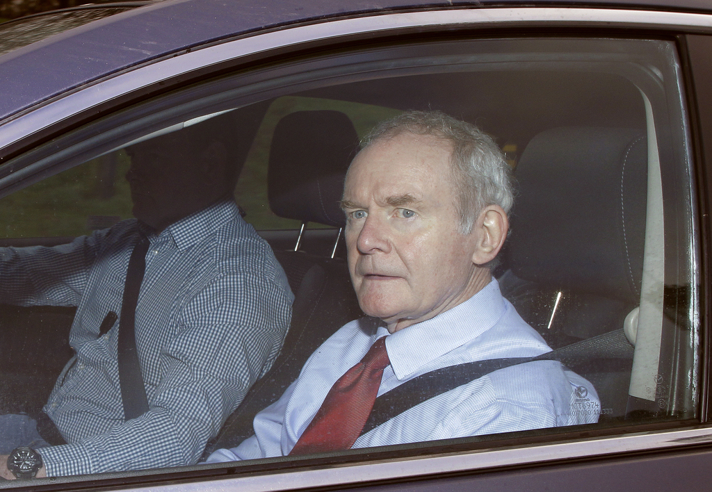 FILE - In this Jan. 16, 2017 file photo rormer deputy Northern Ireland First Minister Martin McGuinness arrives at Stormont, Belfast, N...