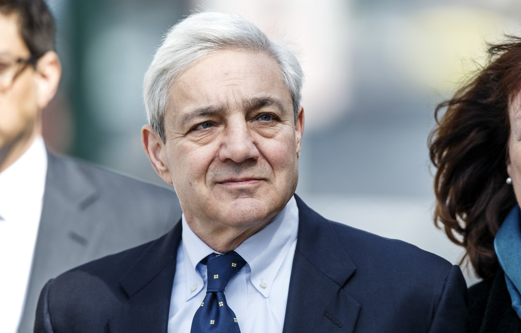Former Penn State president Graham Spanier walks back from a lunch break on the second day of his trial at the Dauphin County Courthous...