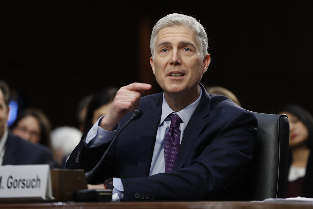 Supreme Court Justice nominee Neil Gorsuch testifies on Capitol Hill in Washington, Tuesday, March 21, 2017, at his confirmation hearin...