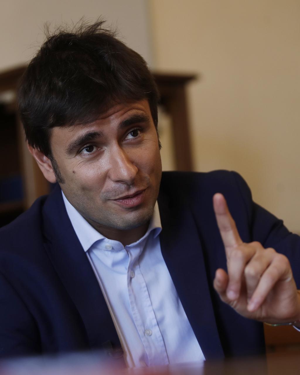 s anti establishment stars pull ahead of democrats s 5 star movement lawmaker alessandro di battista answers questions during an interview the associated press in rome tuesd