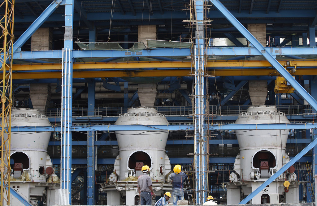FILE - In this Feb. 24, 2015 file photo, boilers are installed at a coal-fired power plant, partially financed by the Japan Bank for In...
