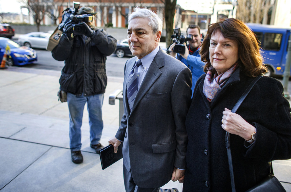 Former Penn State president Graham Spanier and his wife Sandra, arrives for the third day of his trial at the Dauphin County Courthouse...