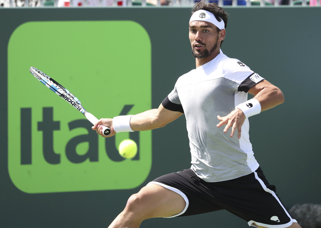 Fabio Fognini, of Italy, in action against Donald Young, of the United States, during the Miami Open tennis tournament, Tuesday, March ...