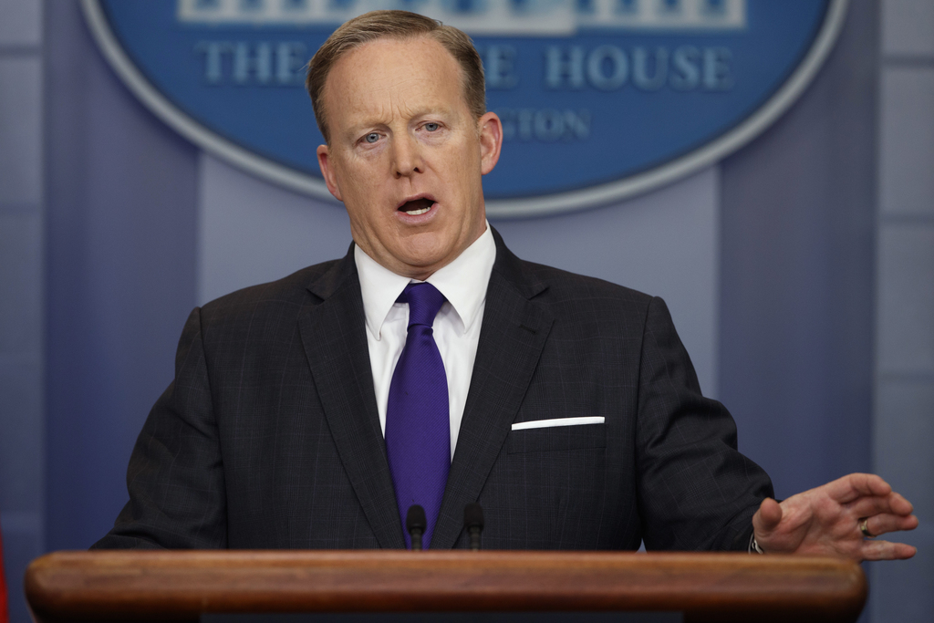 White House press secretary Sean Spicer speaks during the daily press briefing, Thursday, March 30, 2017, at the White House in Washing...