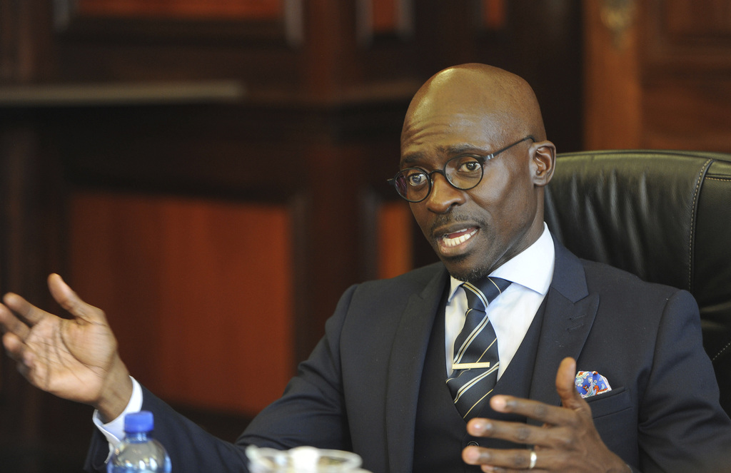 Malusi Gigaba at a news conference in Pretoria, South Africa, after he was announced as the new finance minister by president Jacob Zum...