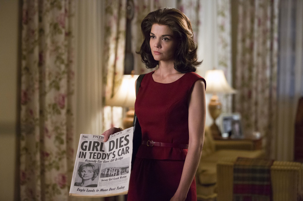 """This undated image provided by ReelzChannel, shows Katie Holmes as Jackie Kennedy Onassis in the REELZ original miniseries, """"The Kenned..."""