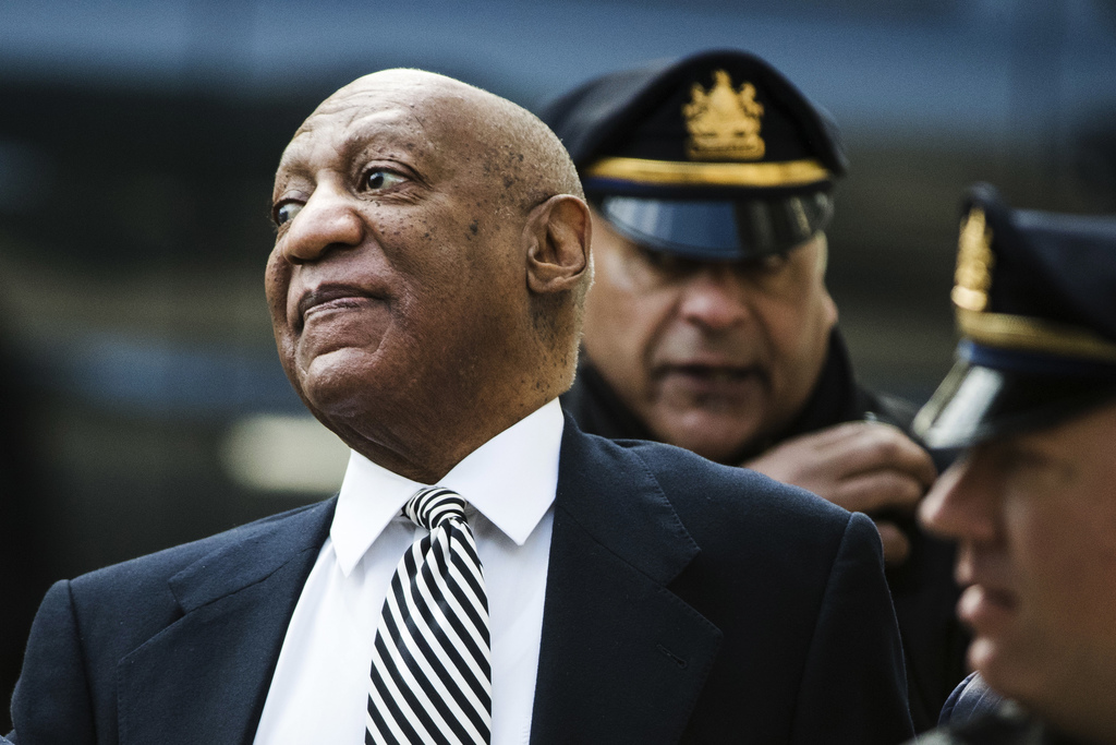 Bill Cosby arrives for a pretrial hearing in his sexual assault case at the Montgomery County Courthouse in Norristown, Pa., Monday, Ap...