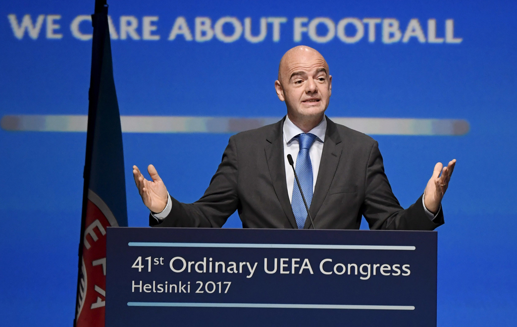 FIFA president Gianni Infantino speaks  during The 41st Ordinary UEFA Congress on Wednesday April  5, 2017  in Helsinki, Finland on Wed...