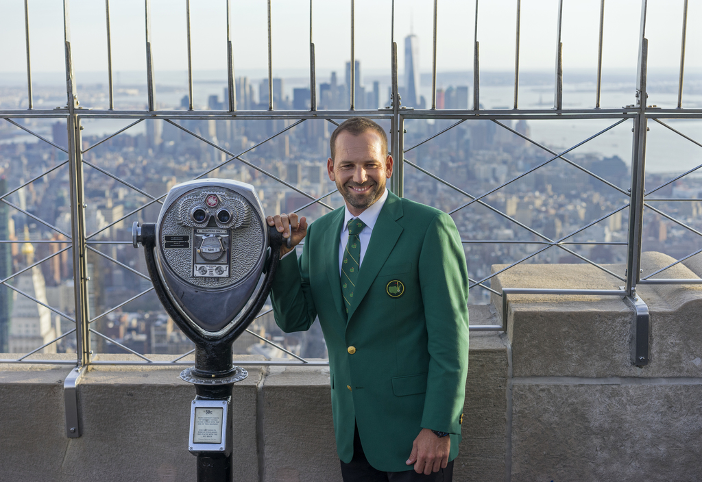 PGA golf professional Sergio Garcia stands on the 86th floor of the Empire State Building in New York Monday, April 10, 2017, a day aft...