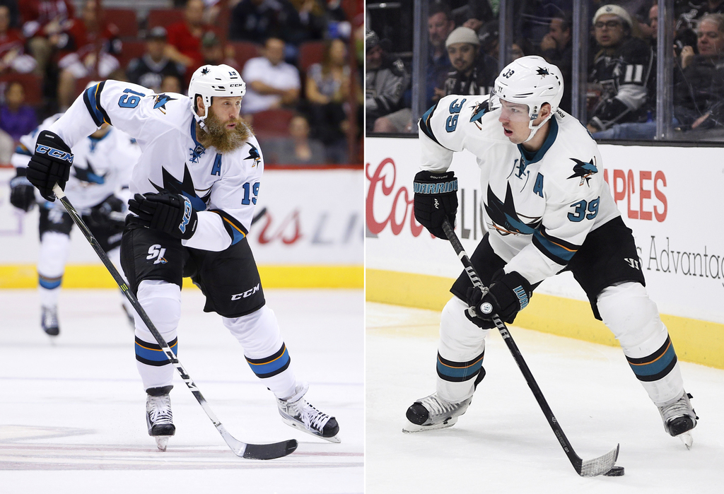 FILE - At left, in a Nov. 1, 2016, file photo, San Jose Sharks center Joe Thornton (19) skates to the puck against the Arizona Coyotes ...