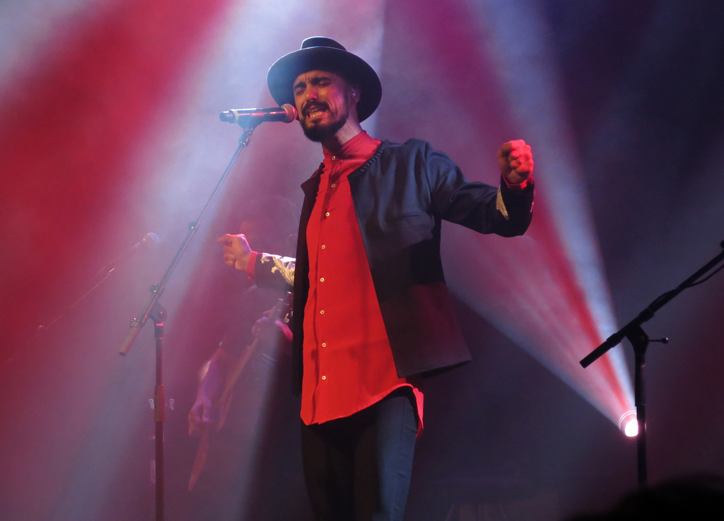 In this April 6, 2017 photo, Argentina's Abel Pintos performs during a concert at the Lunario of the National Auditorium in Mexico City