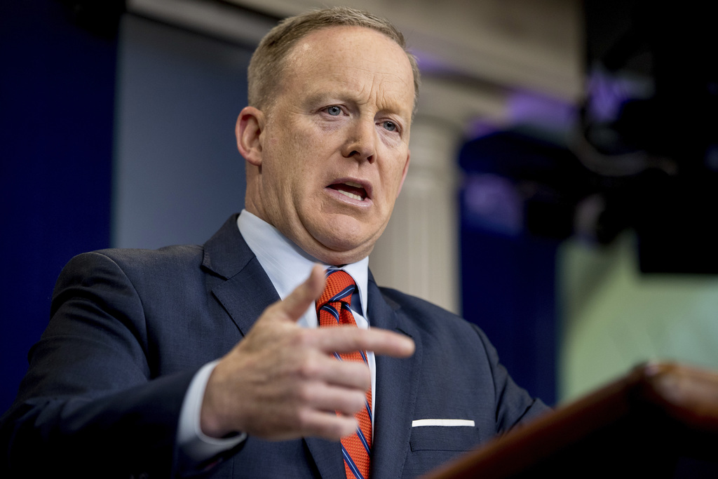 White House press secretary Sean Spicer talks to the media during the daily press briefing at the White House in Washington, Tuesday, A...