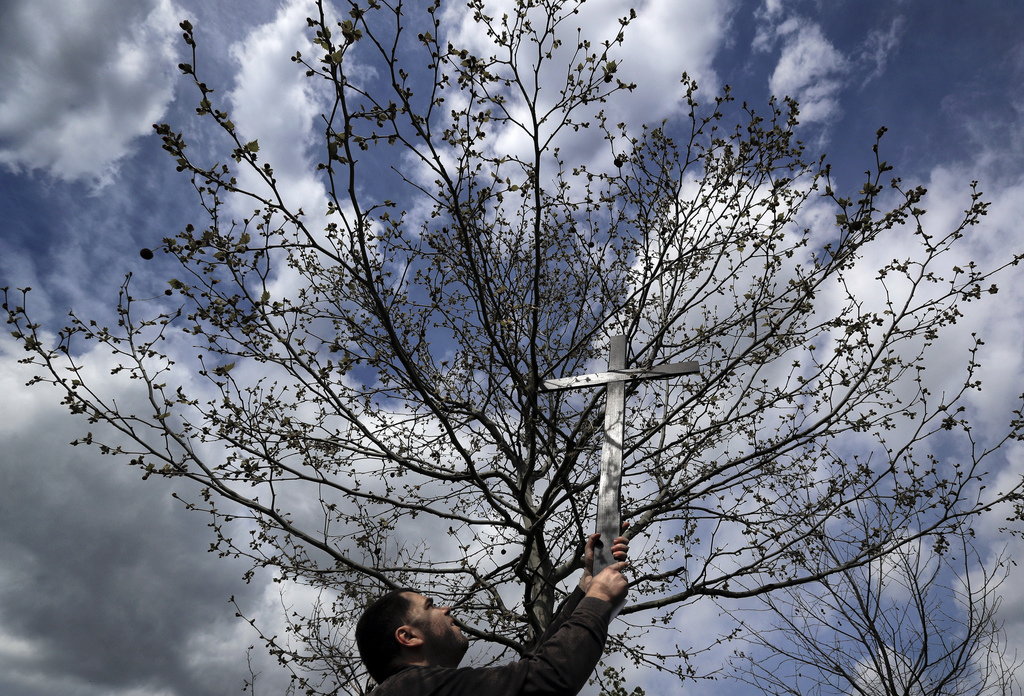 In this Saturday, April 8, 2017, picture a Romanian Catholic picks up a wooden cross from a tree before the start of a procession ahead...