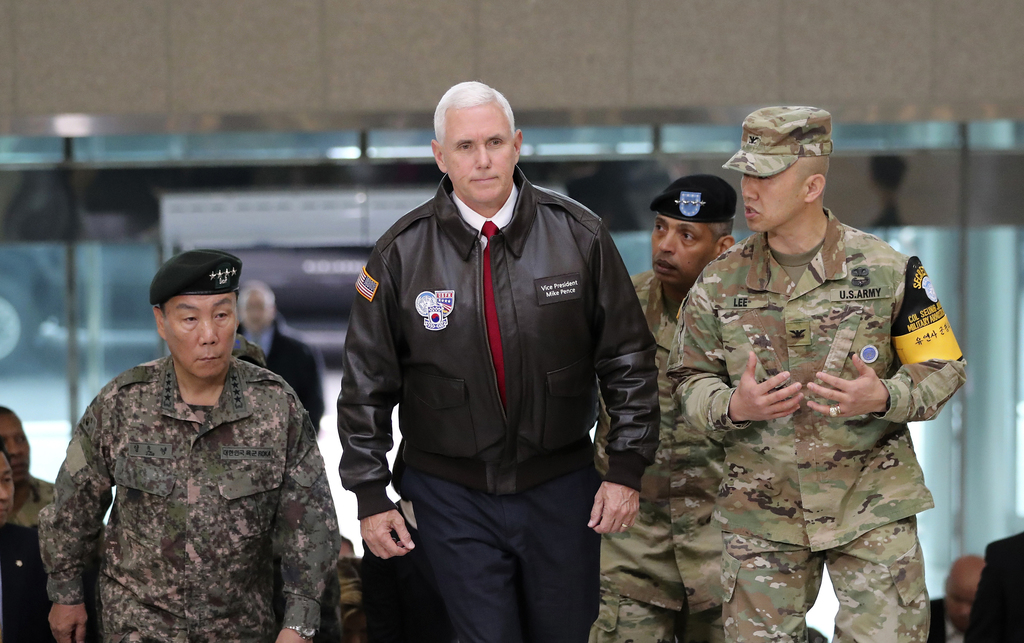 U.S. Vice President Mike Pence arrives at the border village of Panmunjom in the Demilitarized Zone (DMZ) which has separated the two K...