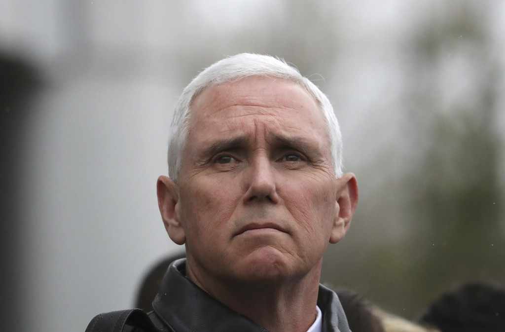 U.S. Vice President Mike Pence visits at the border village of Panmunjom which has separated the two Koreas since the Korean War, South...
