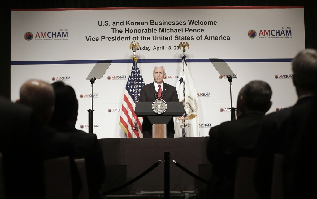 U.S. Vice President Mike Pence gives a speech to members of the American Chamber of Commerce in Korea at the Grand Hyatt Hotel in Seoul...
