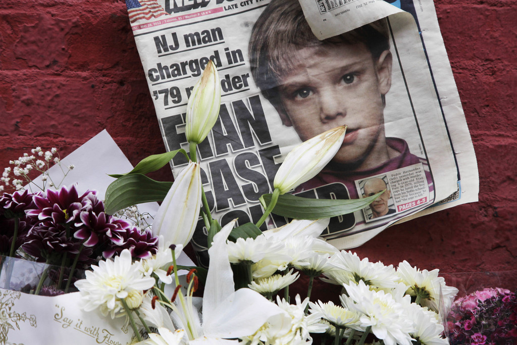 FILE - This May 28, 2012, file photo shows a newspaper with a photograph of Etan Patz at a makeshift memorial in the SoHo neighborhood ...
