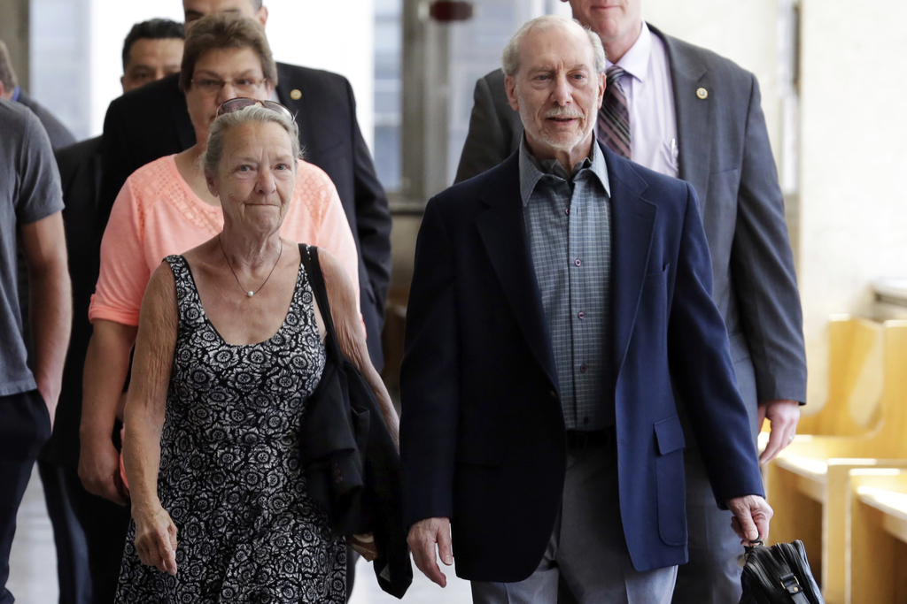 Julie Patz and Stan Patz, the mother and father of Etan Patz, arrive at Manhattan Supreme Court, in New York, Tuesday, April 18, 2017, ...