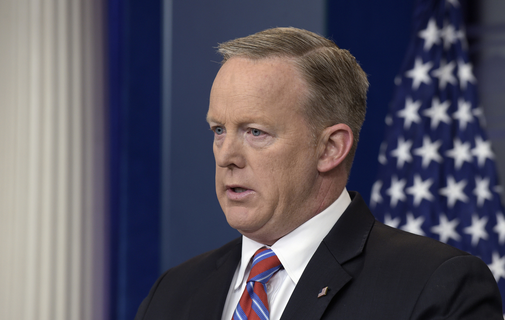 White House press secretary Sean Spicer speaks during the daily briefing at the White House in Washington, Wednesday, April 19, 2017. (