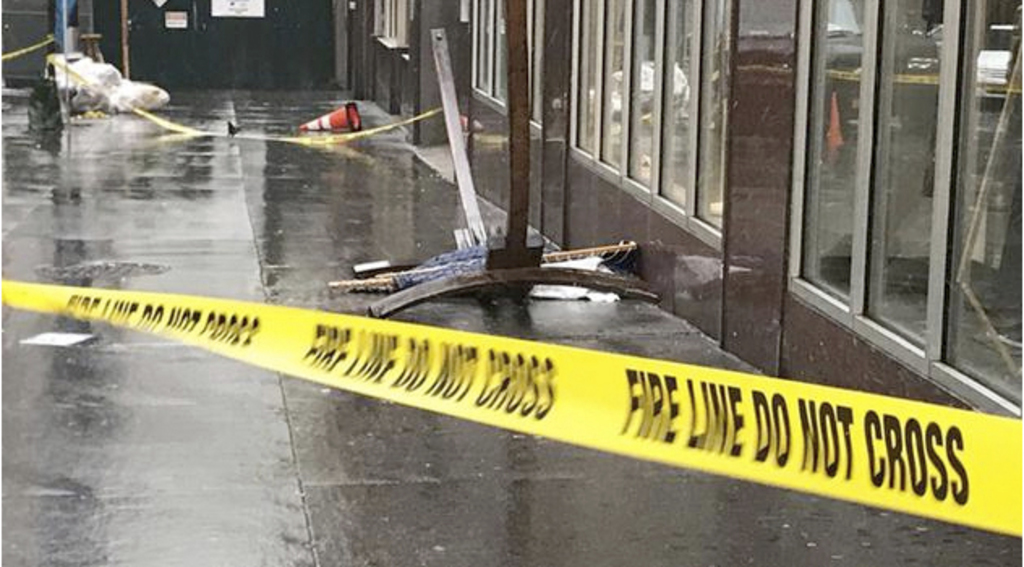 In this April 25, 2017 photo provided by ABC 7 Eyewitness News in New York, a wooden hammock lay on the sidewalk in New York. Police sa...