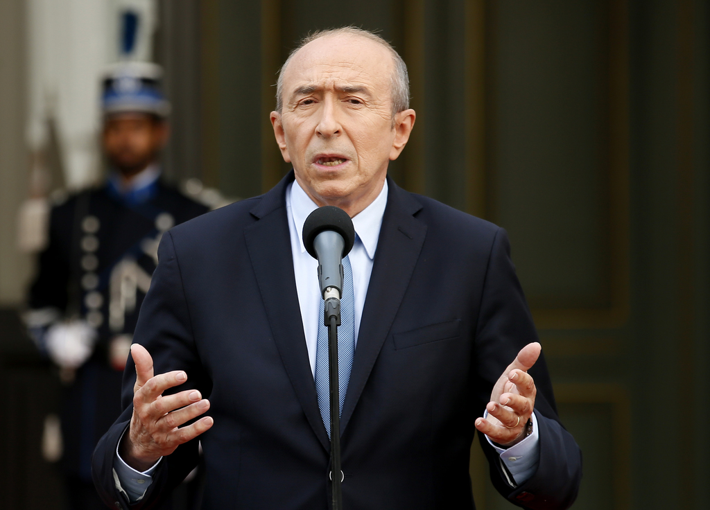 Newly named French Interior Minister Gerard Collomb speaks after the handover ceremony in Paris, Wednesday May, 17, 2017 in Paris. Coll...