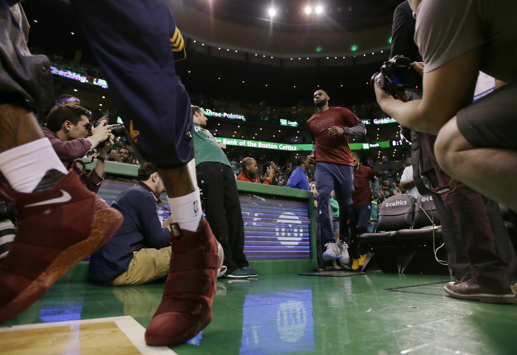 Cleveland Cavaliers forward LeBron James takes the floor for Game 1 of the NBA basketball Eastern Conference finals against the Boston ...