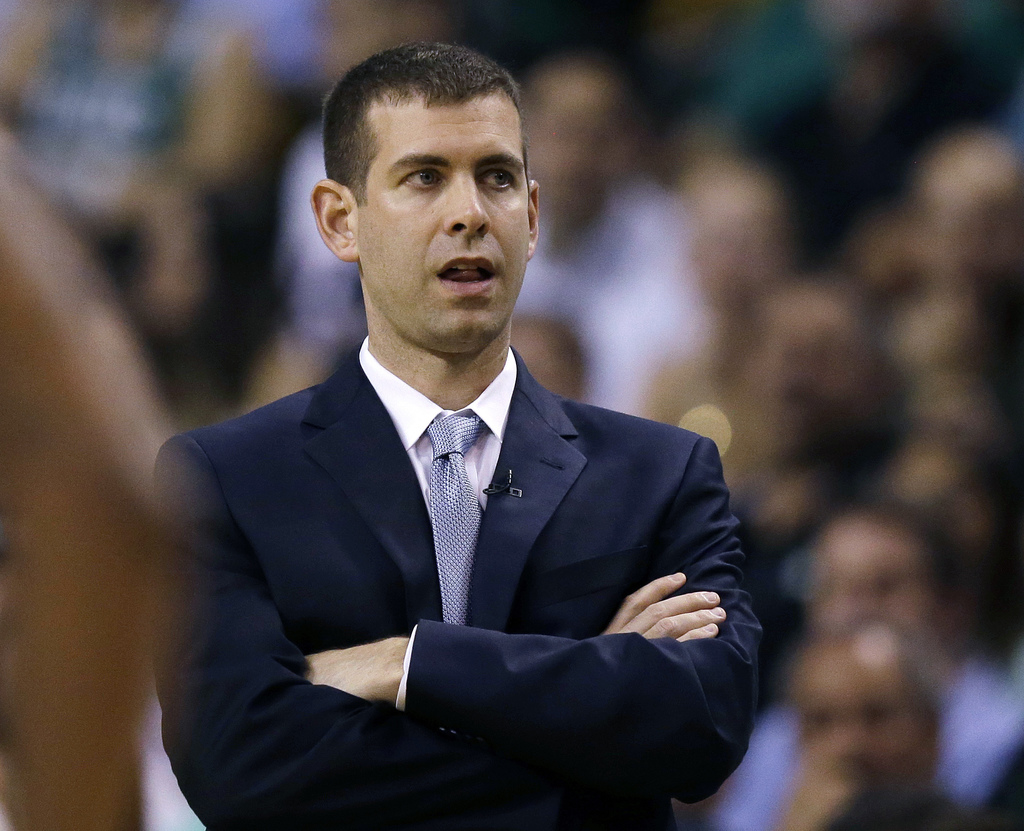 Boston Celtics coach Brad Stevens watches from the sideline during the first quarter of Game 1 of the team's NBA basketball Eastern Con...