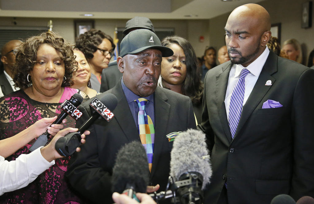 The Rev. Joey Crutcher, father of Terence Crutcher, talks with the media following the verdict in the trial of Betty Shelby in Tulsa, O...